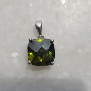 Jewelry - Olive green gemstone Rose cut pendant sterling